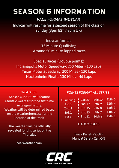 Click image for larger version.  Name:CRC Season 6 Sunday info.png Views:25 Size:113.4 KB ID:281821