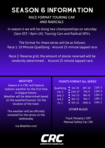 Click image for larger version.  Name:CRC_Season_6_Saturday_info.png Views:18 Size:134.1 KB ID:281822